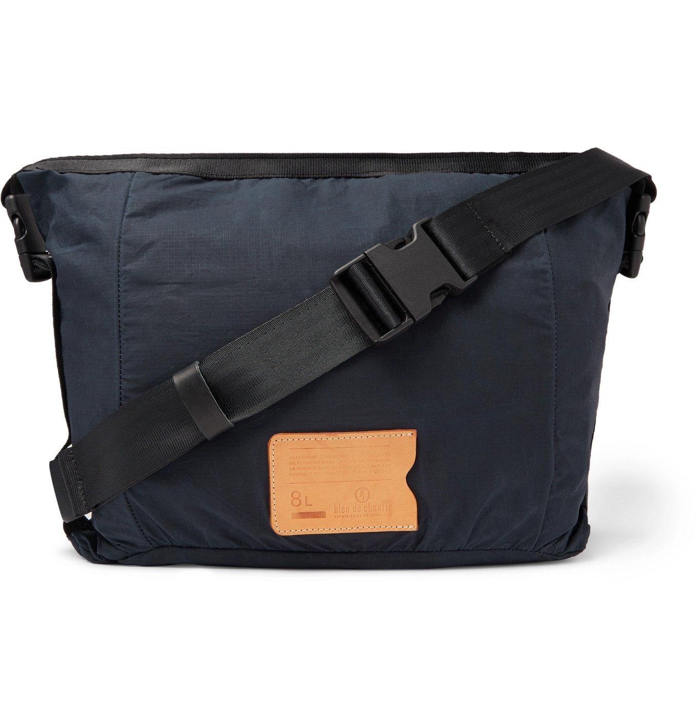 Photo: Bleu de Chauffe - Bastille Leather-Trimmed Waxed-Ripstop Belt Bag - Blue