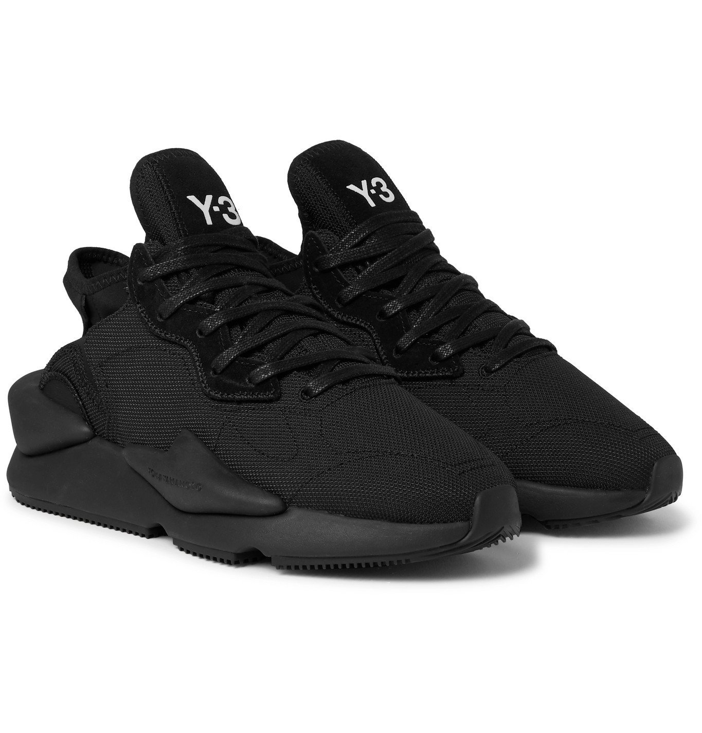 Photo: Y-3 - Kaiwa Suede-Trimmed Canvas and Neoprene Sneakers - Black