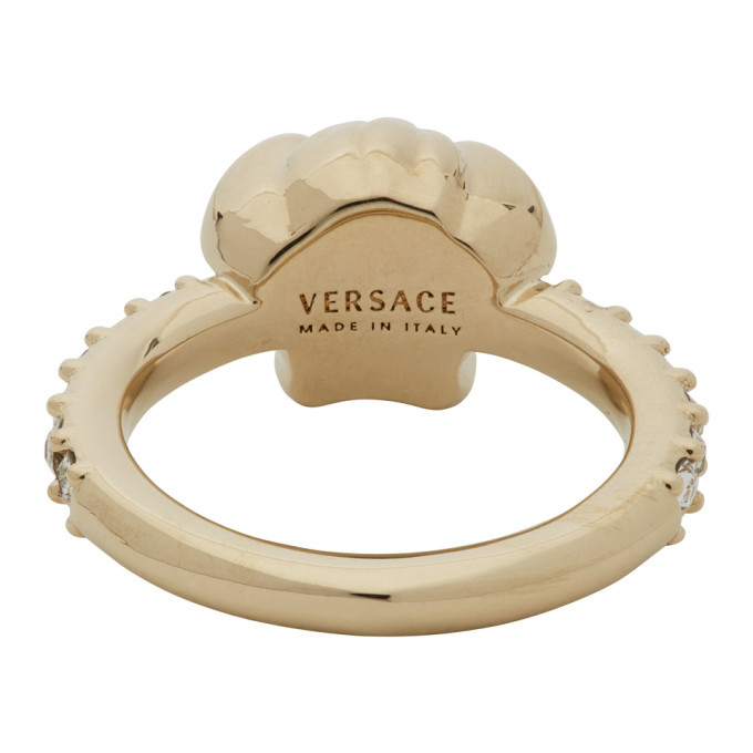 Versace Gold Medusa Head Crystal Ring
