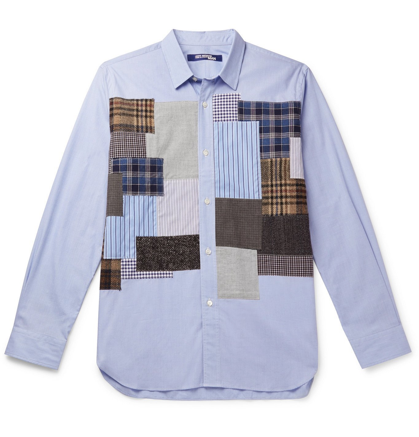 Photo: Junya Watanabe - Tweed-Trimmed Patchwork Cotton Shirt - Blue