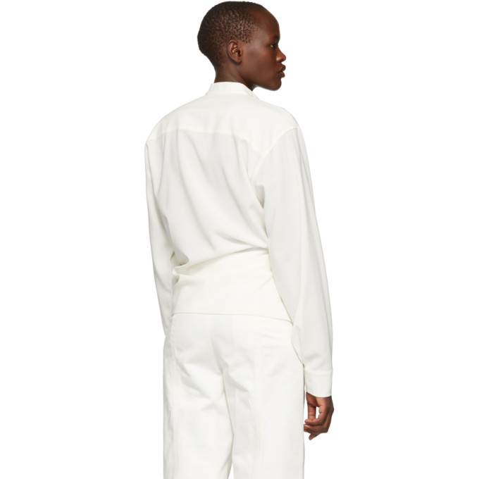 Lemaire White Crepe Twisted Shirt
