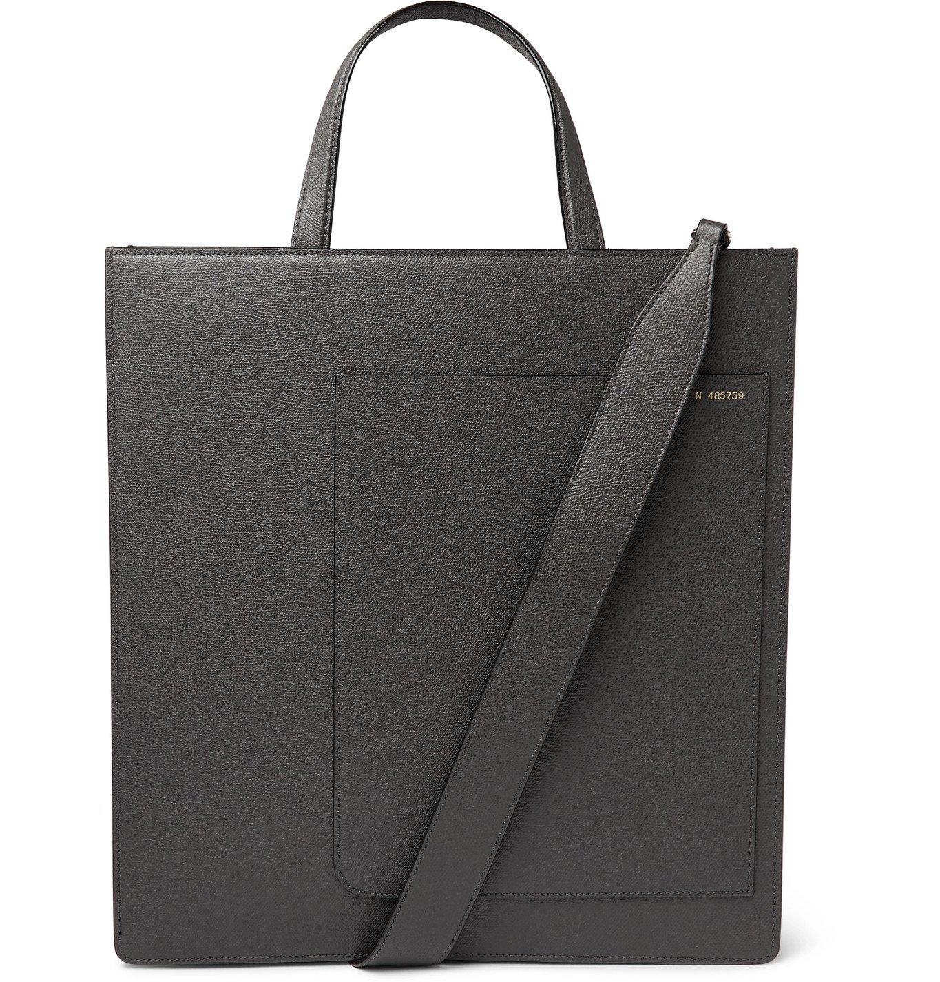Photo: Valextra - Pebble-Grain Leather Tote Bag - Gray