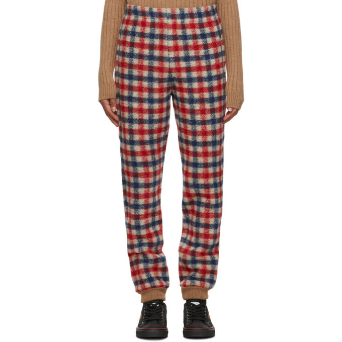 Photo: Gucci Red and Blue Wool Check Lounge Pants
