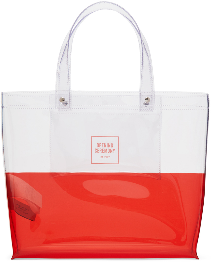 Photo: Opening Ceremony Transparent & Red Medium Colorblock Shopping Tote