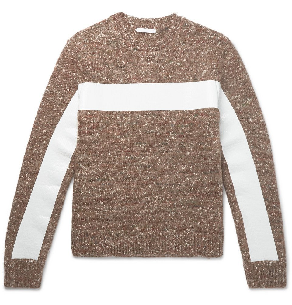 Photo: Helmut Lang - Panelled Donegal Wool, Alpaca and Silk-Blend Sweater - Men - Brown
