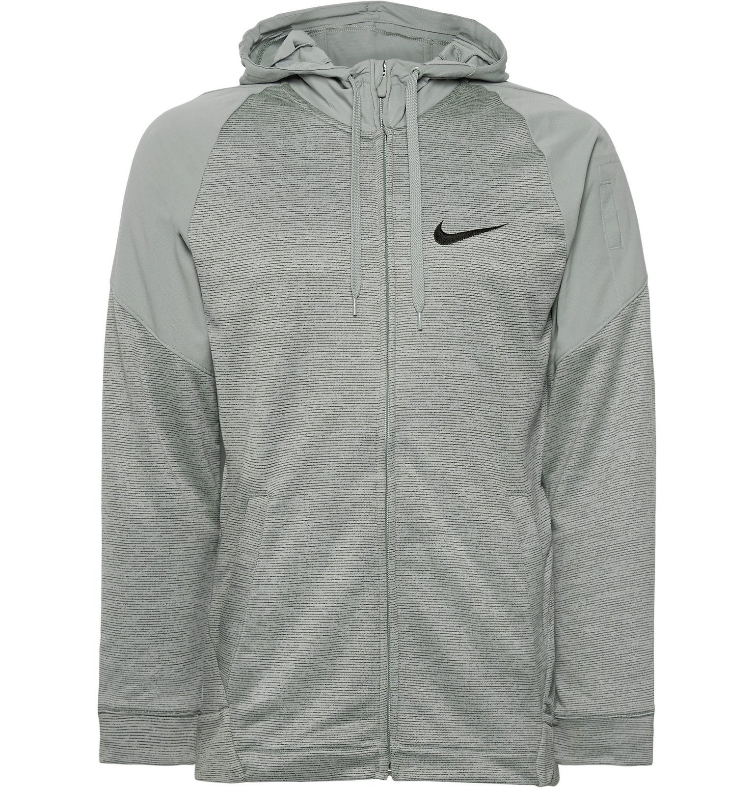 Photo: Nike Training - Striped Dri-Fit and Loopback Jersey Zip-Up Hoodie - Gray