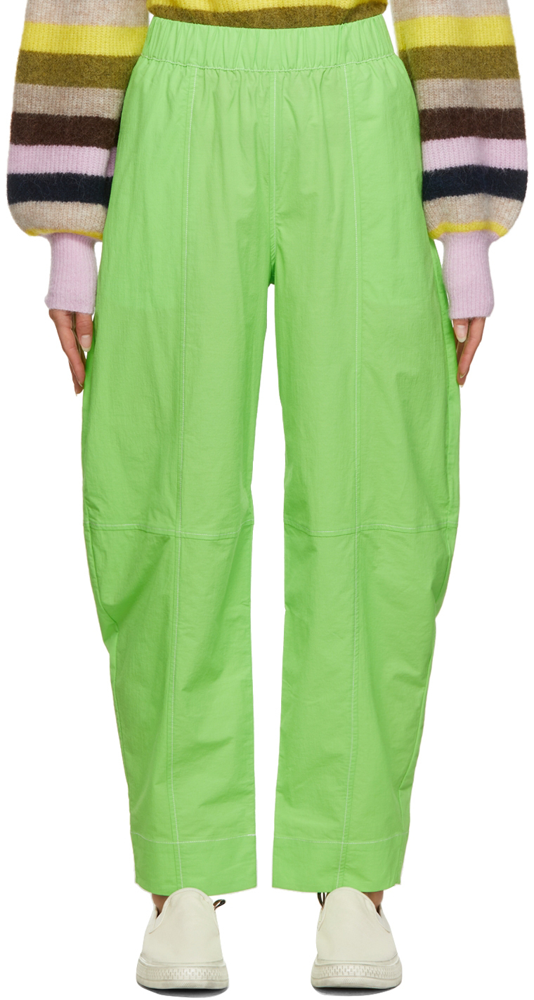 Photo: GANNI Green Cotton Crepe Trousers