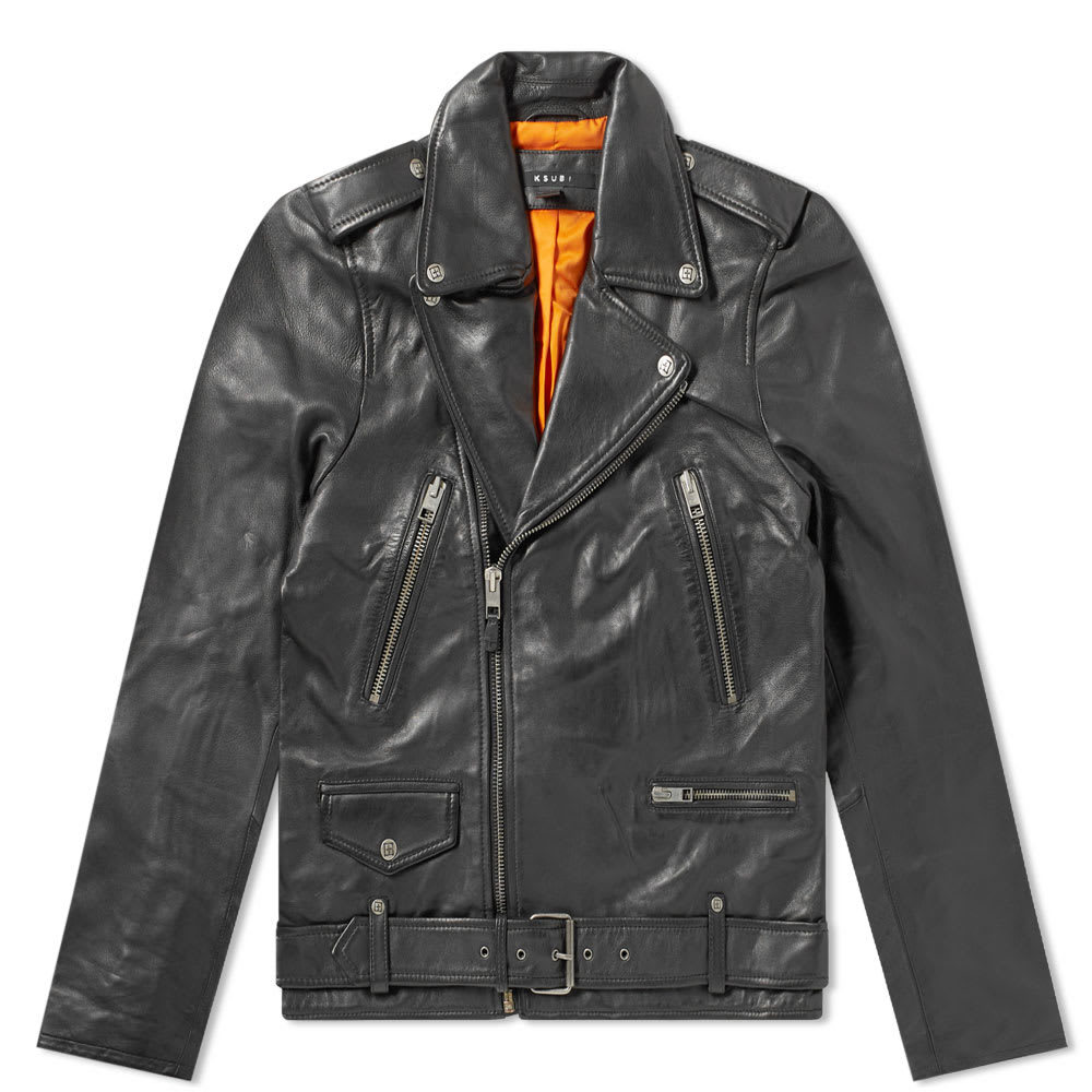 Photo: Ksubi Loathing Leather Biker Jacket Black