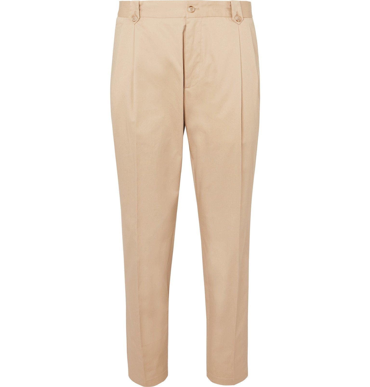 Photo: Dolce & Gabbana - Tapered Pleated Cotton-Blend Twill Chinos - Neutrals