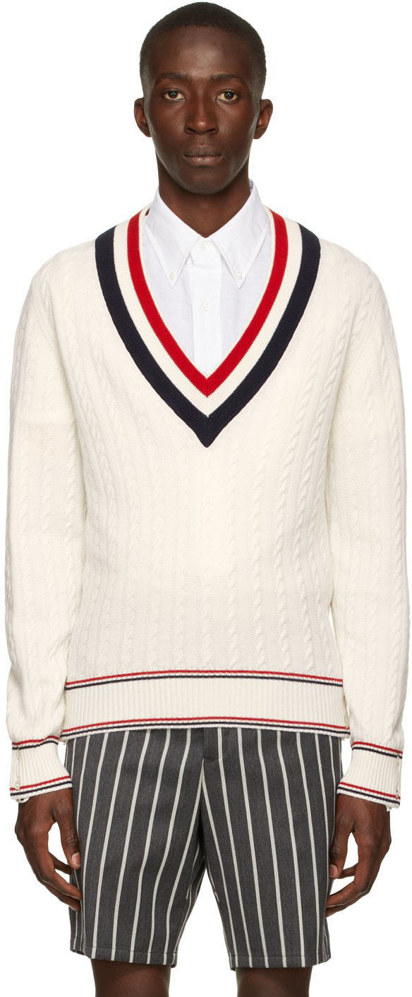 Photo: Thom Browne White Heritage Cable V-Neck Sweater