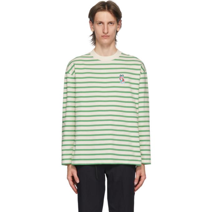 Photo: Maison Kitsune Green ACIDE Fox Patch Long Sleeve T-Shirt