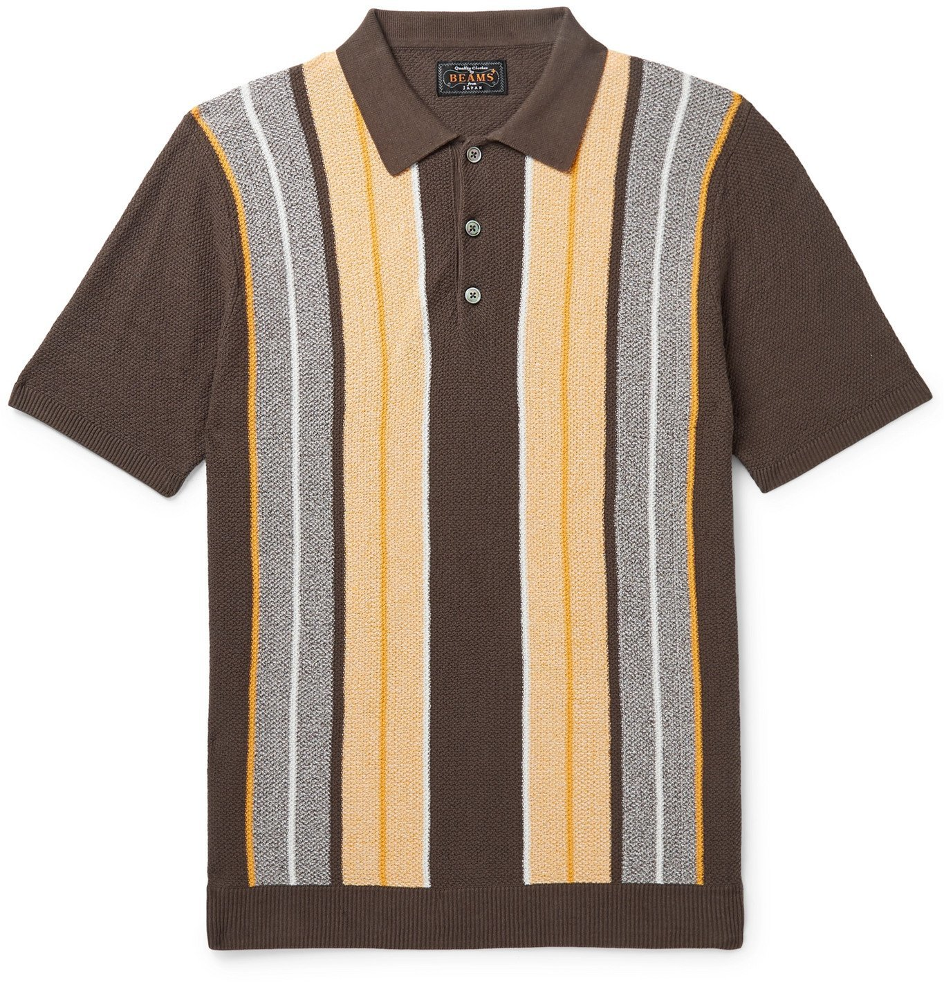 Photo: Beams Plus - Slim-Fit Striped Knitted Cotton Polo Shirt - Brown