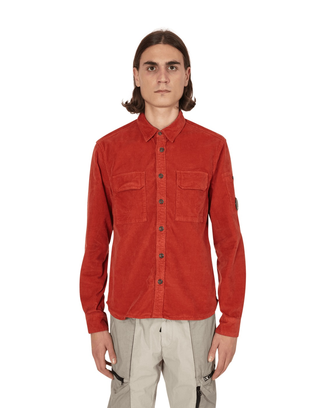 Photo: C.P. Company Corduroy Lens Shirt Pompeian Red