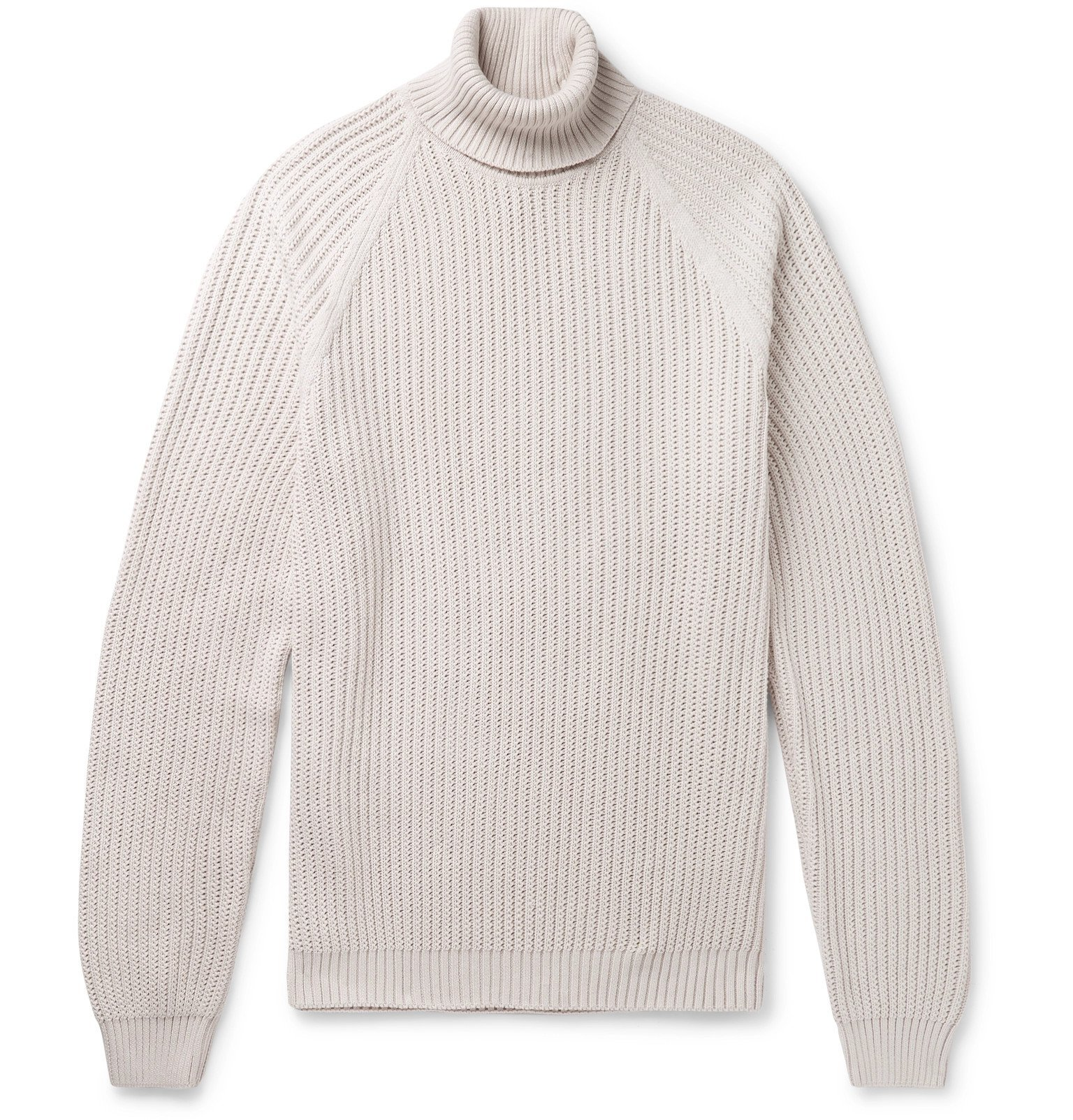 Photo: Hugo Boss - Ribbed Cotton Rollneck Sweater - Neutrals