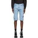Raf Simons Blue Denim Destroyed Shorts