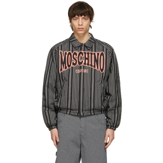 Photo: Moschino Black Insulated Pinstripe Windbreaker Jacket
