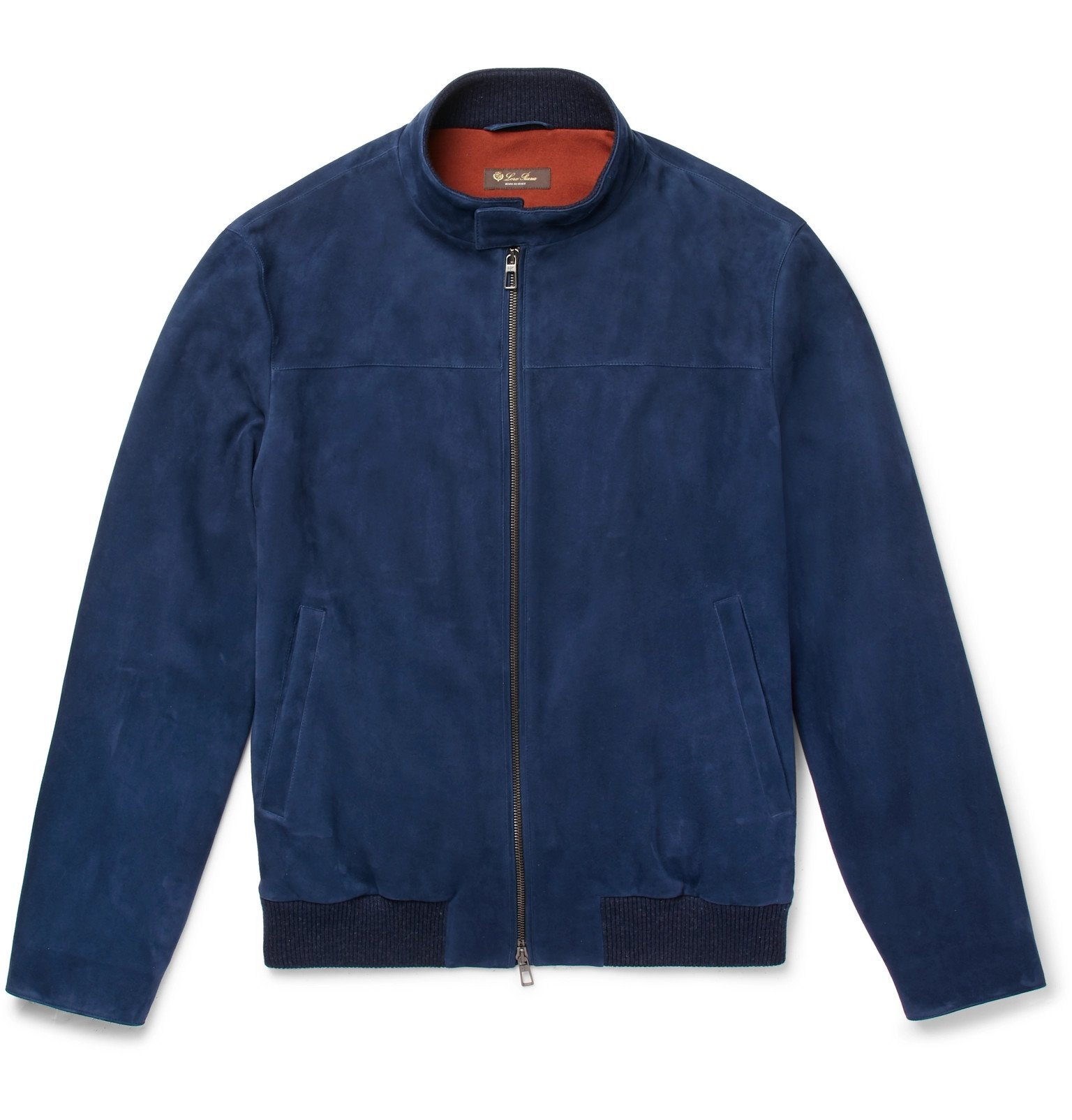 Photo: Loro Piana - Rain System Suede Bomber Jacket - Blue