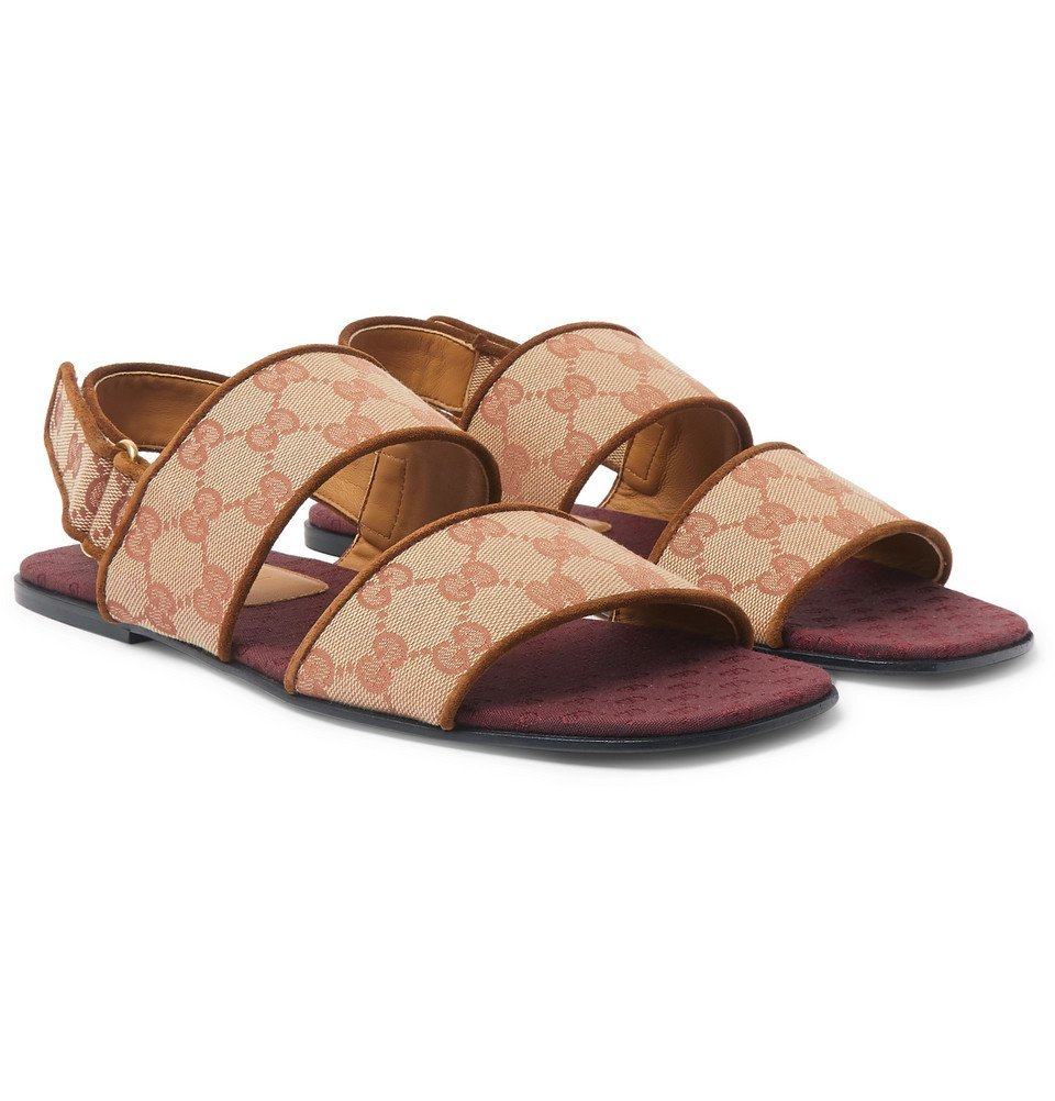 Photo: Gucci - Suede-Trimmed Monogrammed Canvas Sandals - Light brown