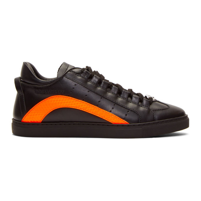 Photo: Dsquared2 Black and Orange Fluo Sneakers