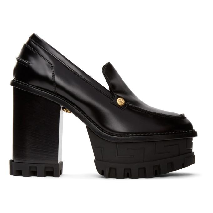 Versace Black Greta Empire Heels