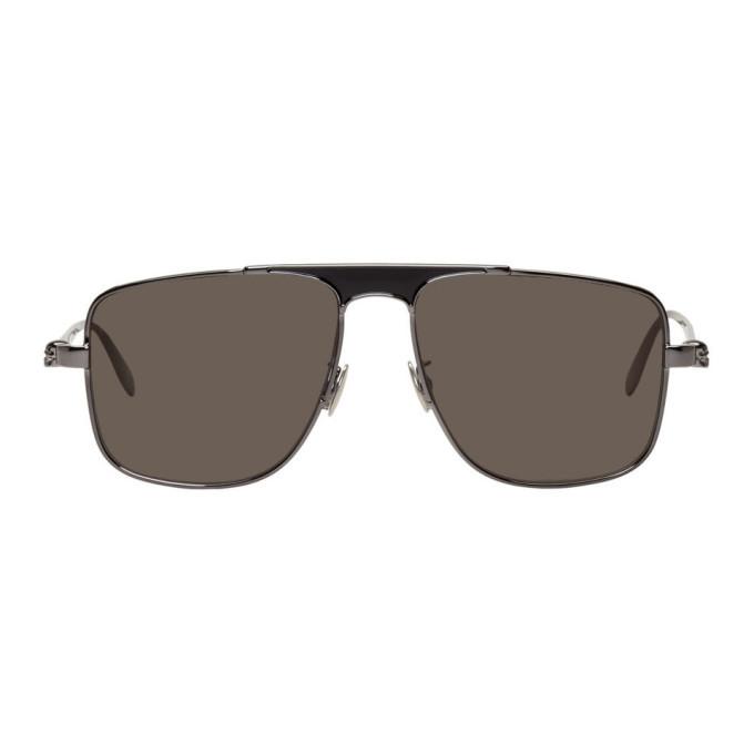 Photo: Alexander McQueen Gunmetal Rectangular Sunglasses