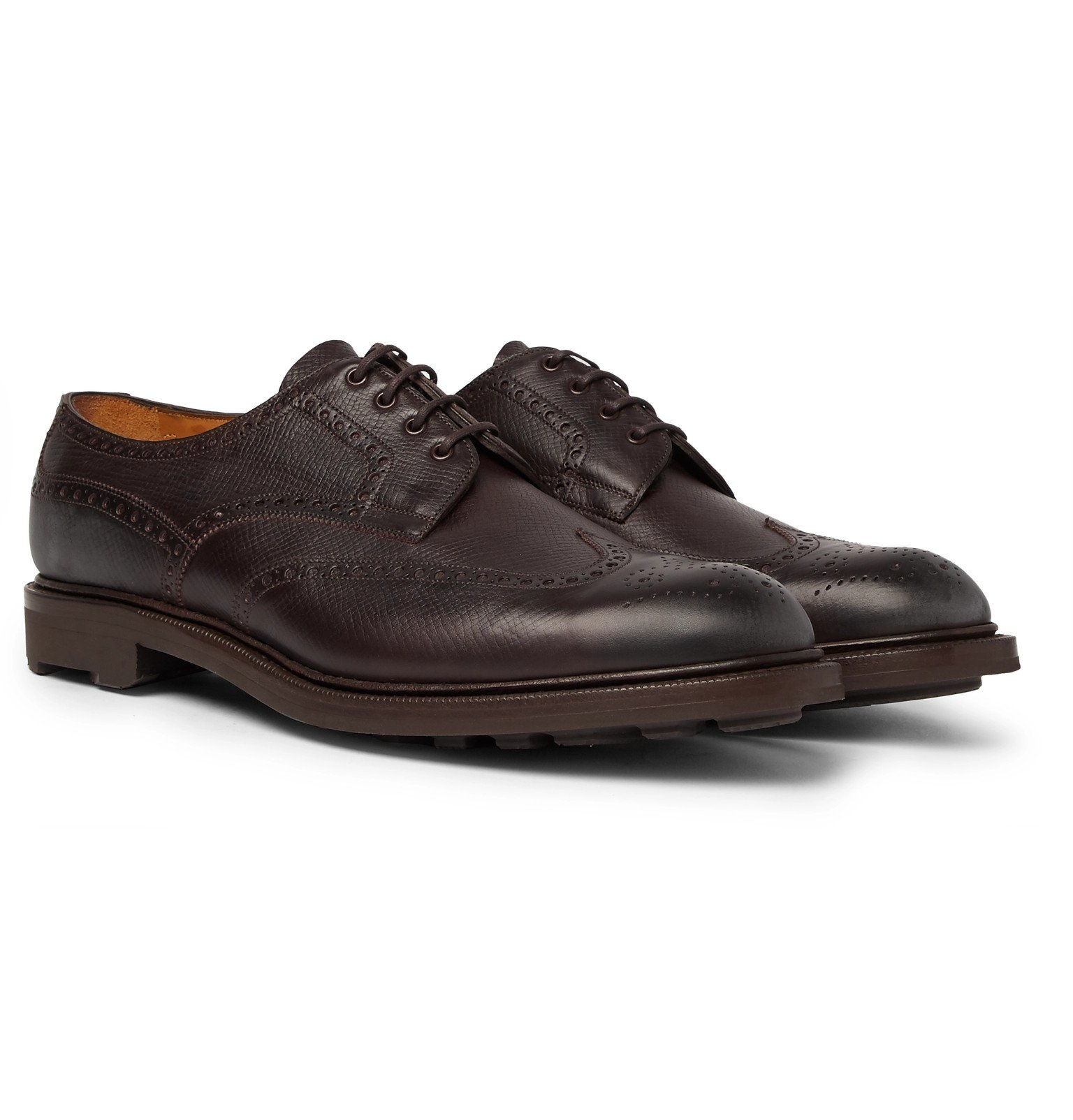 Photo: Edward Green - Borrowdale Textured-Leather Wing-Tip Brogues - Brown