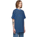 Martine Rose Blue and Black Striped Oversized T-Shirt