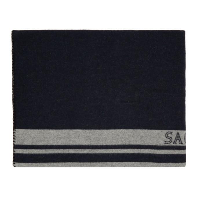 Sacai Navy and Grey Logo Blanket