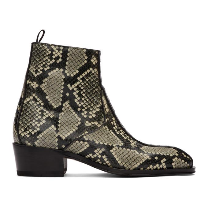 Photo: Giuseppe Zanotti Black and Grey Snake Zip-Up Boots