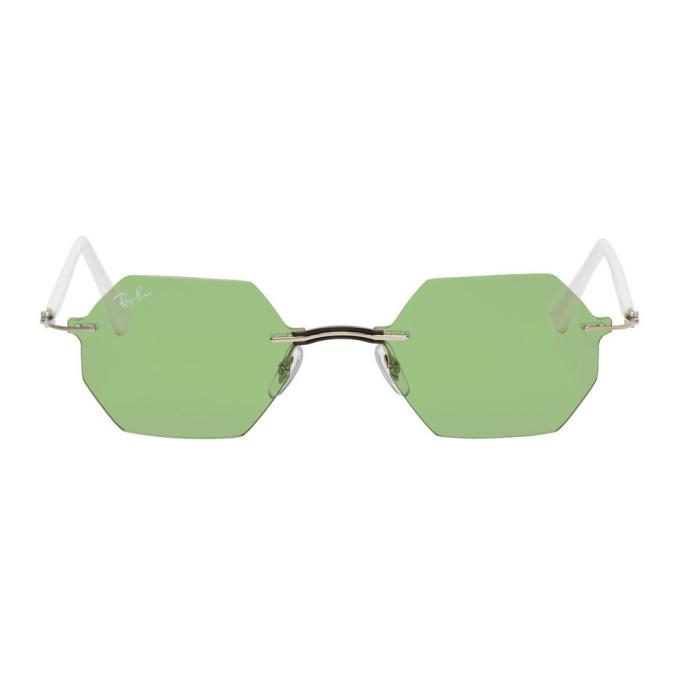 Photo: Ray-Ban Green and White Rimless Hexagon Sunglasses