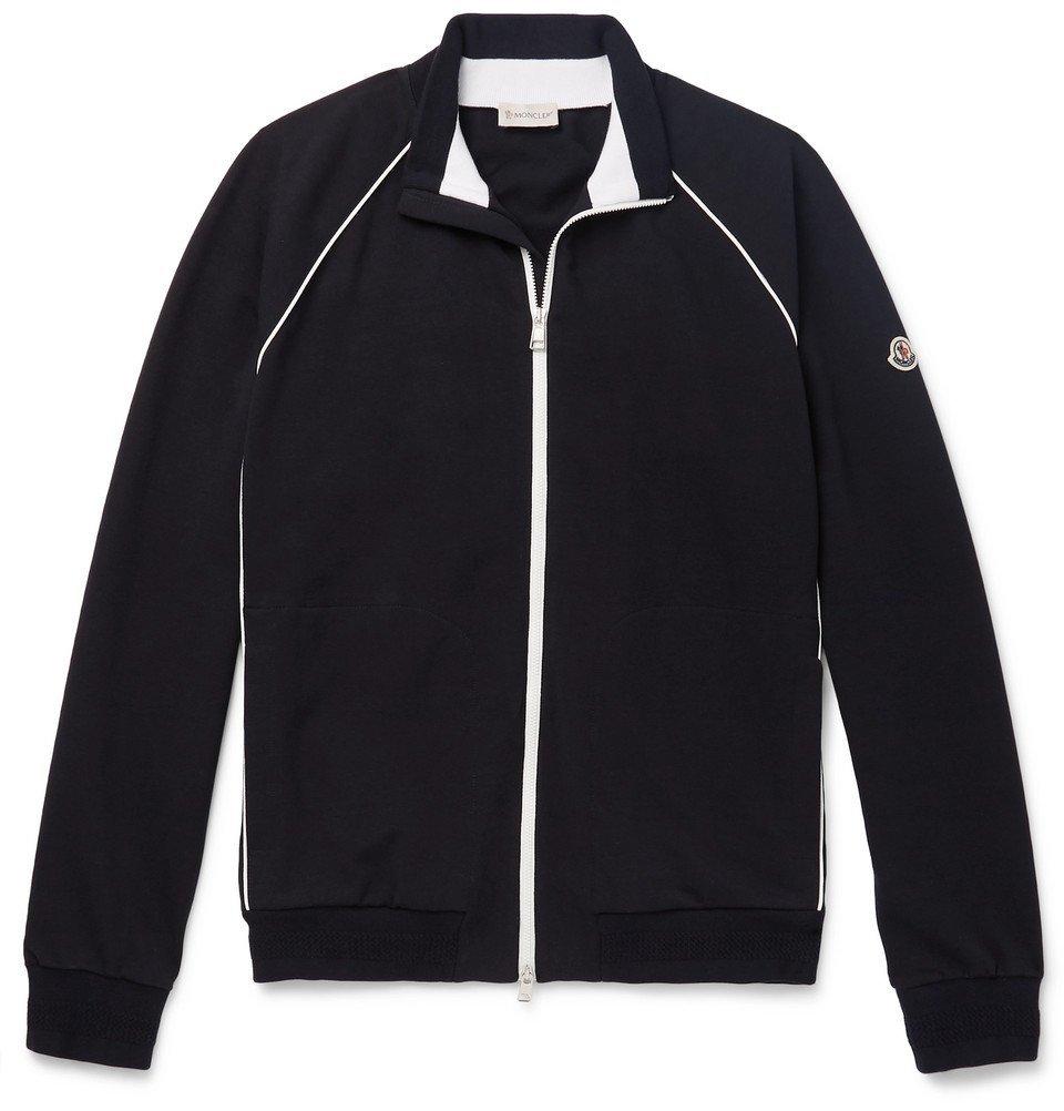 Photo: Moncler - Loopback Stretch-Cotton Jersey Track Jacket - Navy
