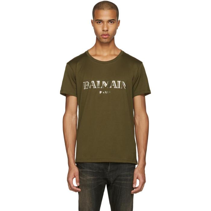 a0c9c02a Balmain Green Mylar Logo T-Shirt Balmain