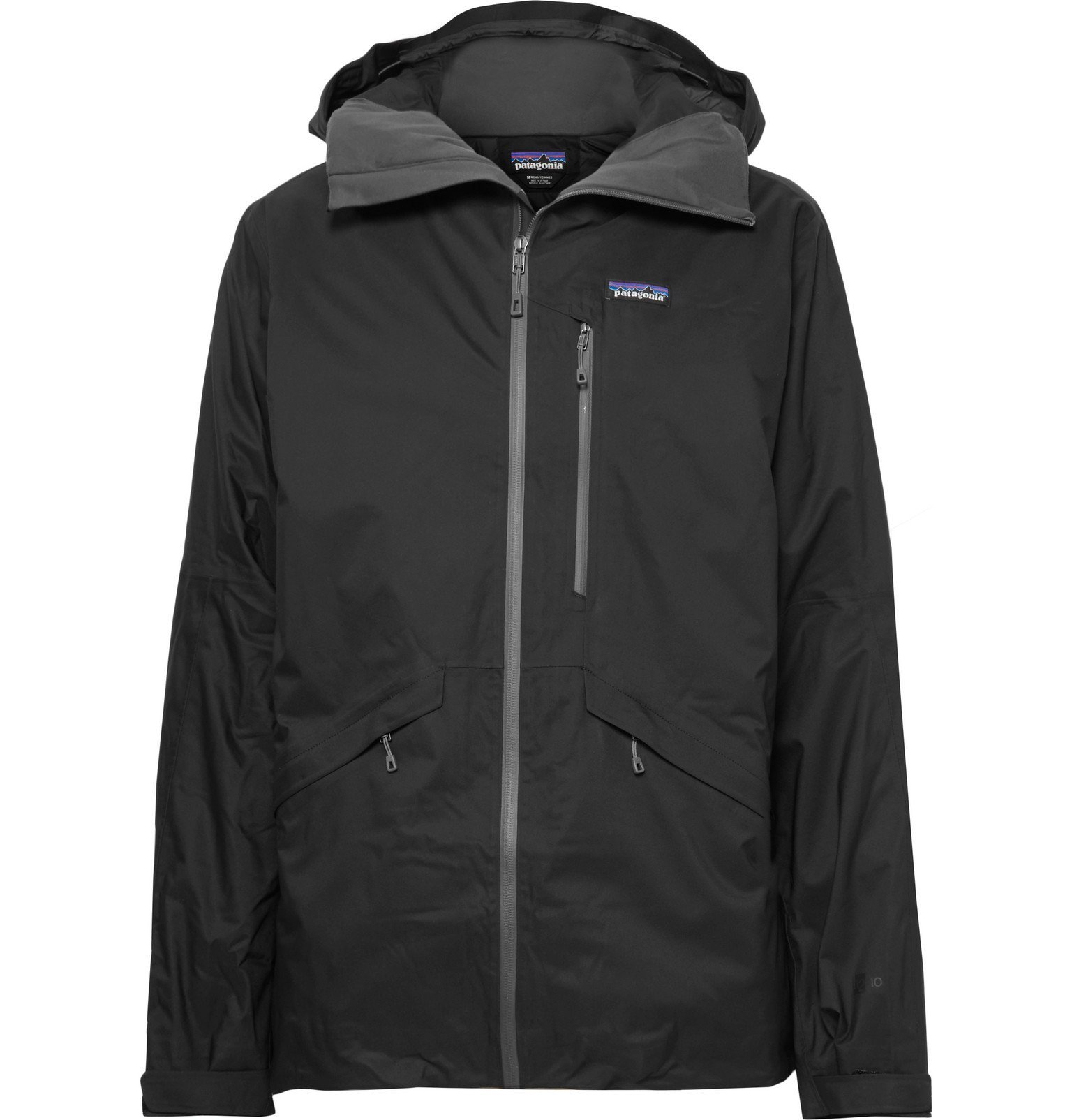 Photo: Patagonia - Insulated Snowshot H2No Performance Standard Micro-Twill Hooded Jacket - Black