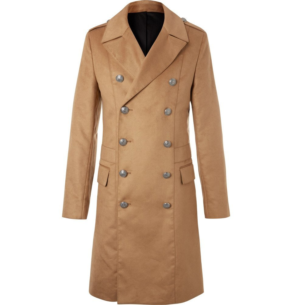 Photo: Balmain - Slim-Fit Double-Breasted Faux Suede Coat - Camel
