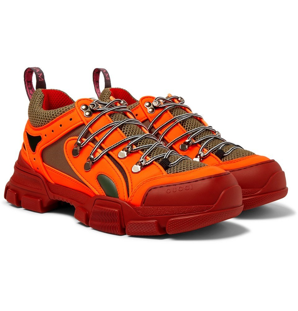 Photo: Gucci - Flashtrek Reflective Rubber, Leather and Mesh Sneakers - Orange