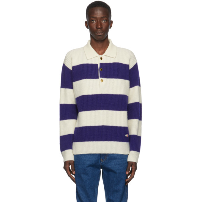 Photo: Gucci Blue and White Wool Polo Sweater
