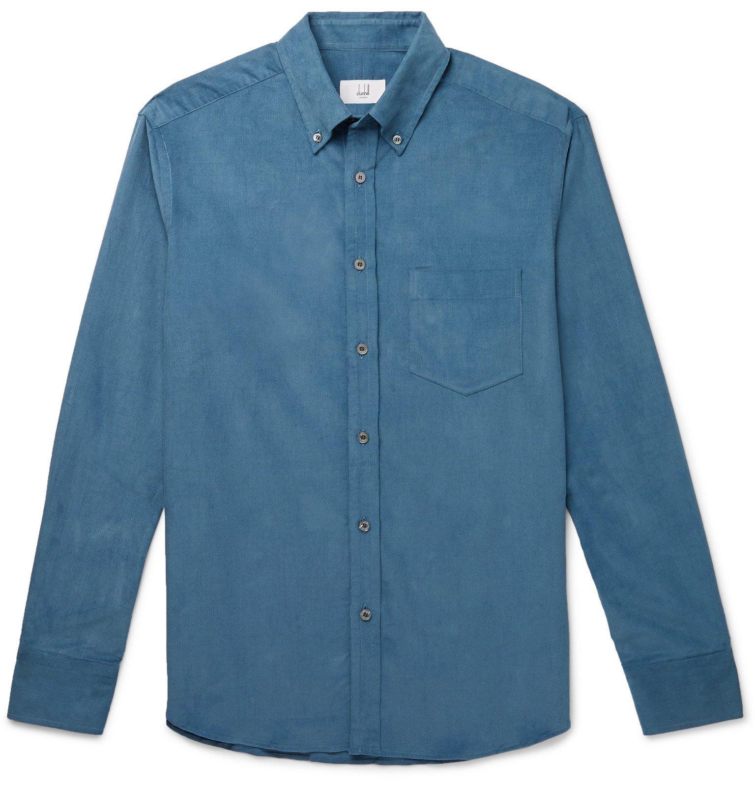 Dunhill - Button-Down Collar Cotton-Corduroy Shirt - Blue