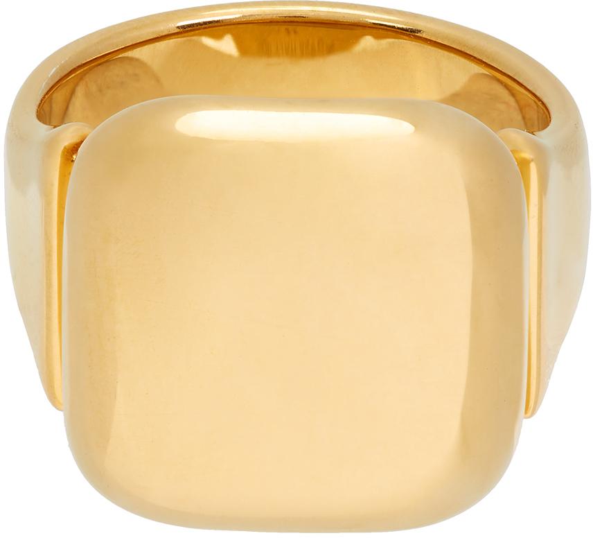 Photo: Bottega Veneta Gold Square Signet Ring