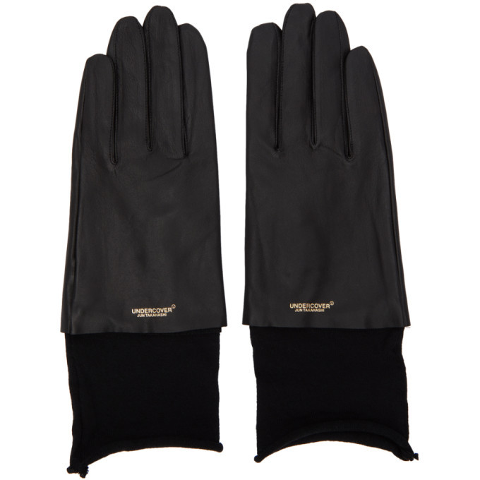 Photo: Undercover Black Leather Logo Gloves