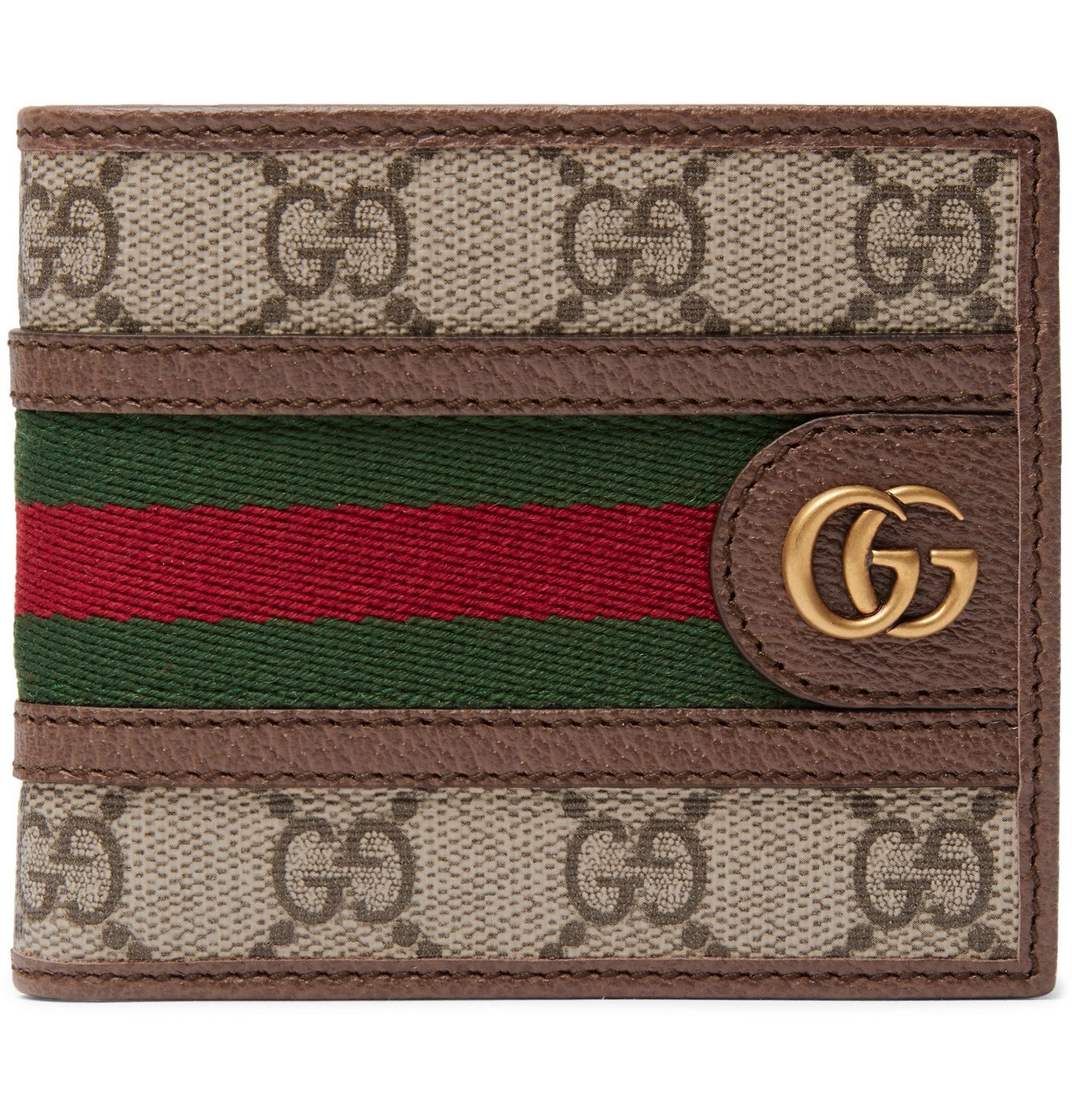 Photo: Gucci - Ophidia Webbing-Trimmed Monogrammed Coated-Canvas and Leather Billfold Wallet - Brown
