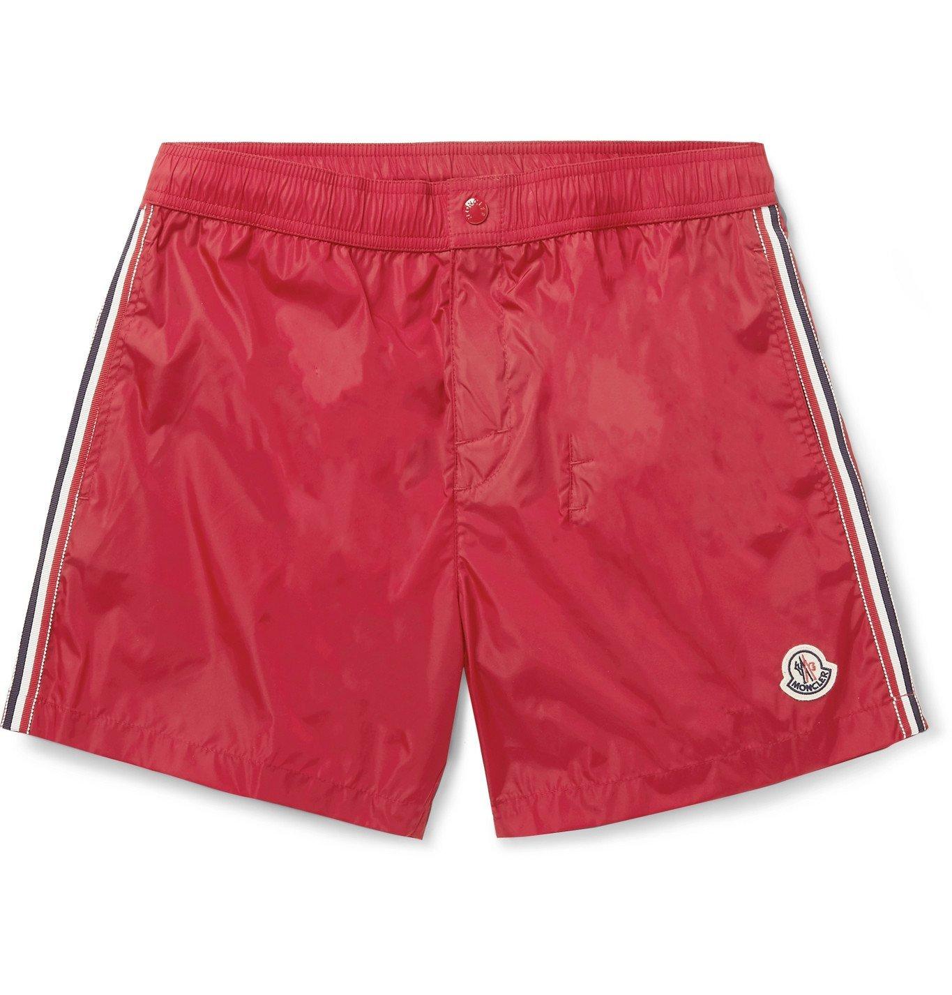 Photo: Moncler - Slim-Fit Mid-Length Logo-Appliquéd Swim Shorts - Red