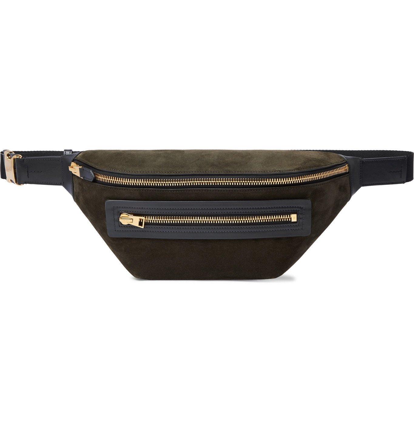 Photo: TOM FORD - Buckley Leather-Trimmed Suede Belt Bag - Green