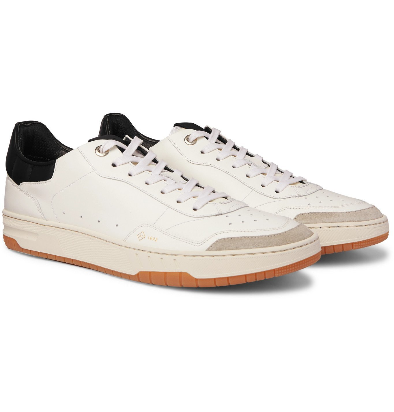 Dunhill - Court Elite Suede-Trimmed Leather Sneakers - White