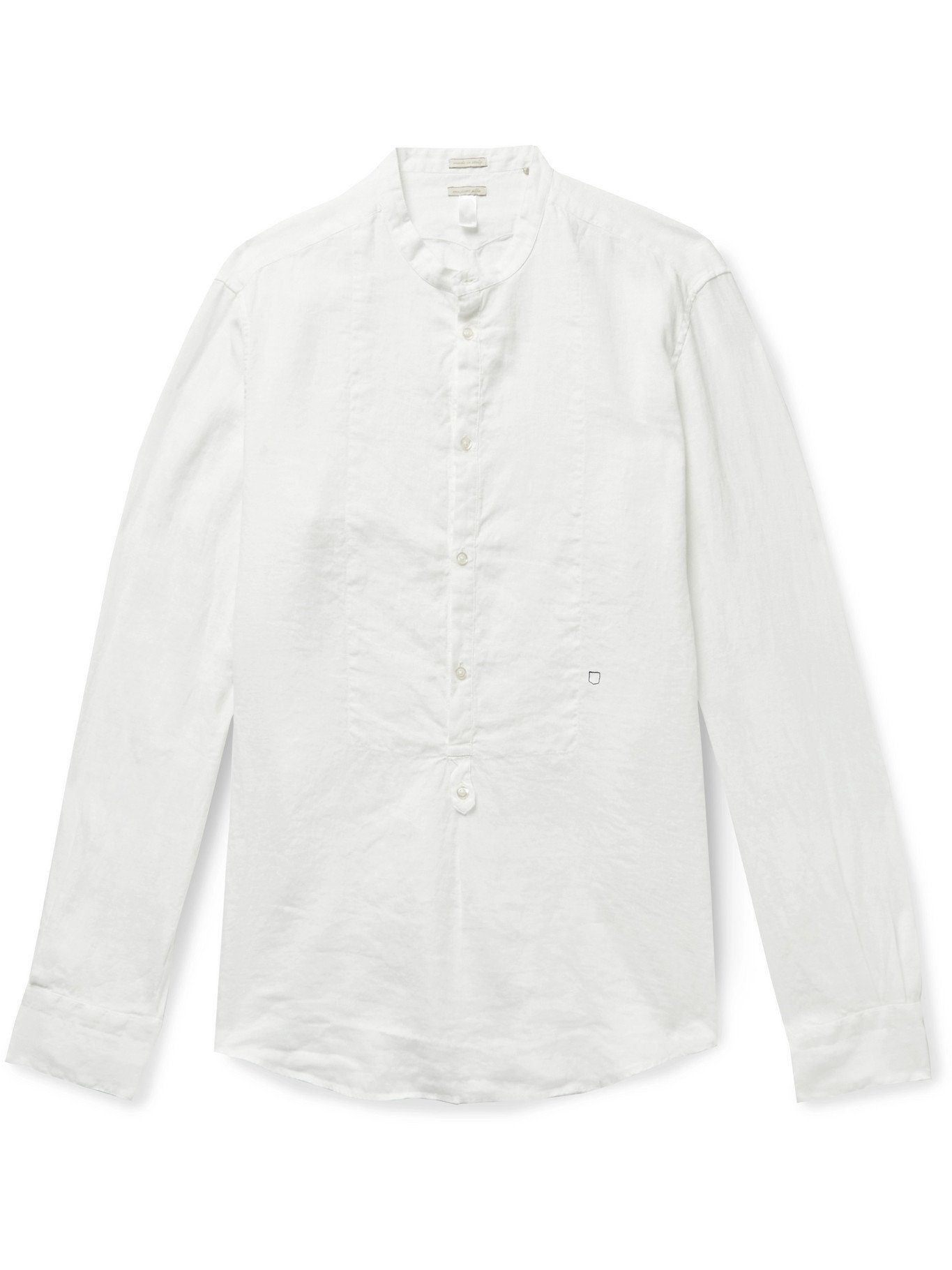 Photo: MASSIMO ALBA - Kos Grandad-Collar Garment-Dyed Linen Half-Placket Shirt - Neutrals