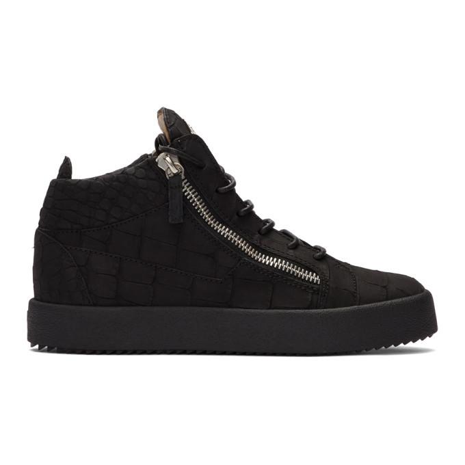 Photo: Giuseppe Zanotti Black Croc Kriss High-Top Sneakers