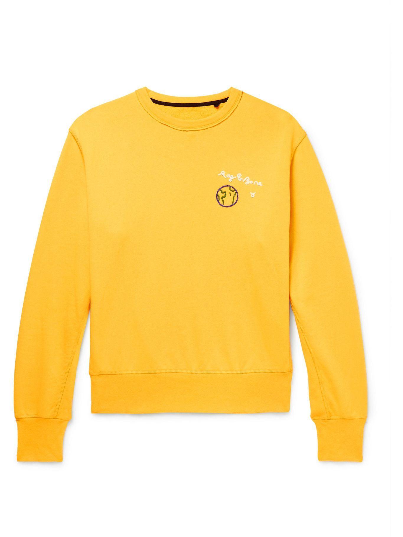 Photo: Rag & Bone - City Logo-Embroidered Organic Cotton-Jersey Sweatshirt - Yellow