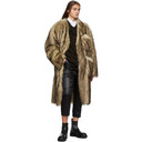 Raf Simons Reversible Brown and Off-White Faux-Fur Labo Coat