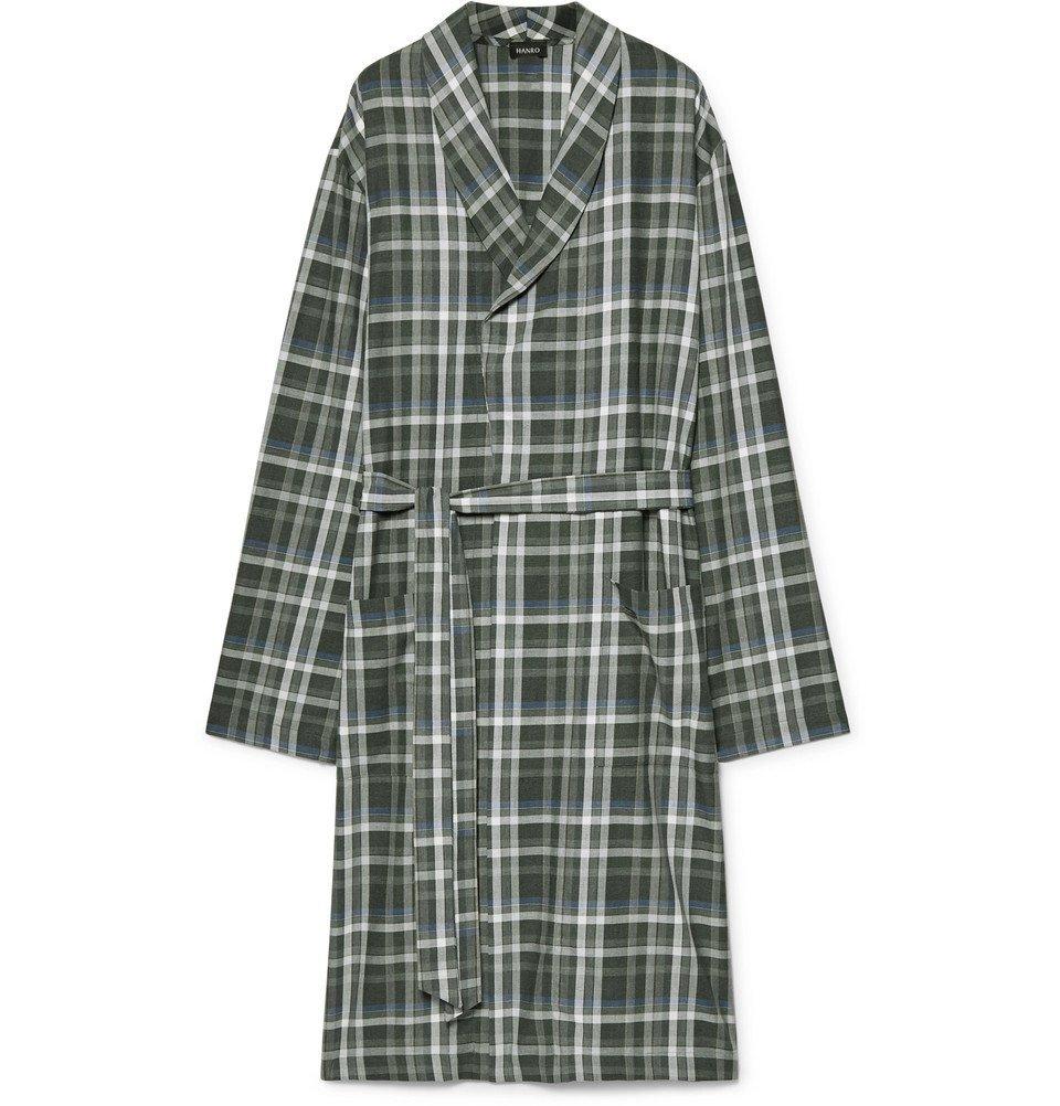 Hanro - Loran Checked Cotton Robe - Men - Green