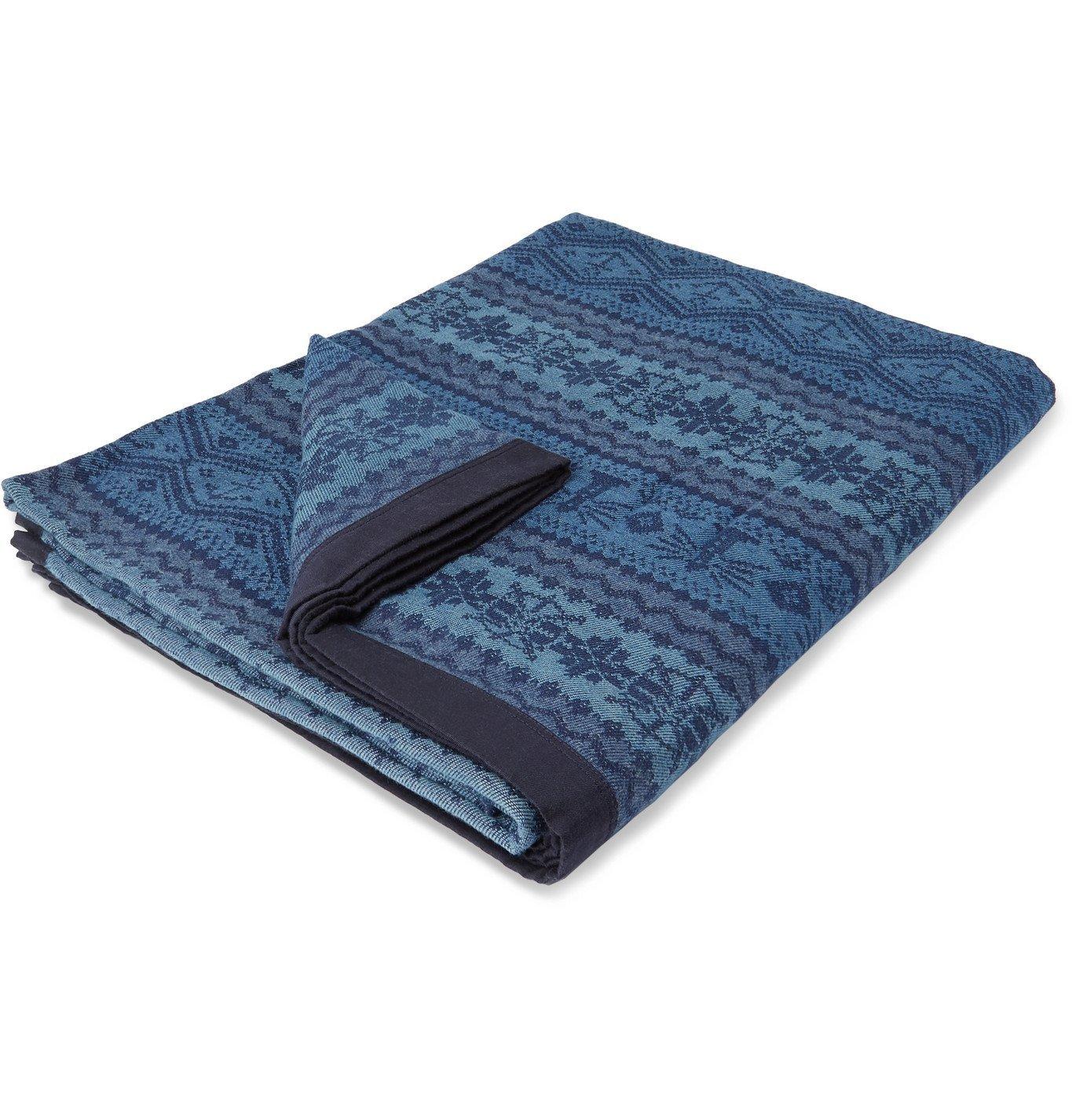 Photo: RRL - Farrell Cotton-Jacquard Blanket - Blue