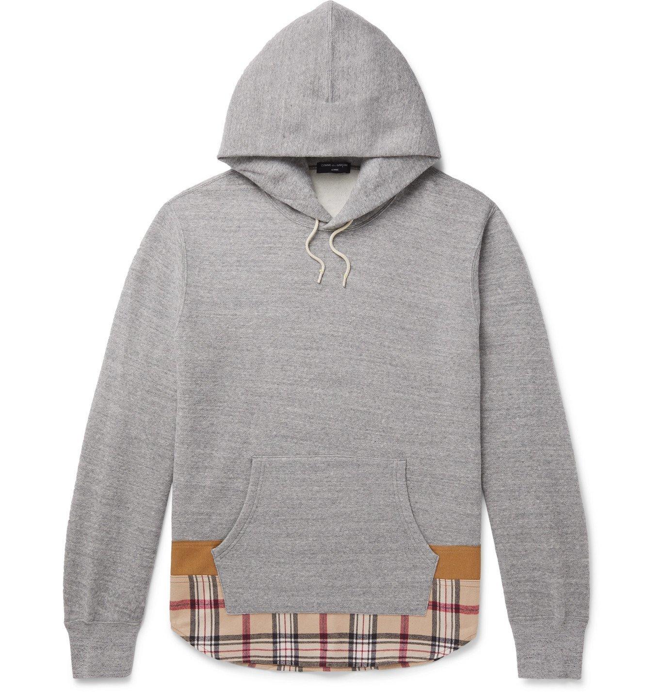 Photo: Comme des Garçons HOMME - Twill-Trimmed Mélange Fleece-Back Cotton and Wool-Blend Jersey Hoodie - Gray